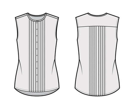 Pintucked blouse technical fashion illustration with crew neck, sleeveless, oversized body, front button fastenings. Flat apparel shirt template front, back, grey color. Women men unisex top CAD 일러스트