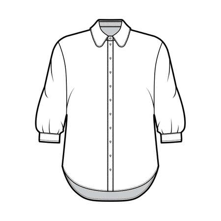 Classic shirt technical fashion illustration with button down front opening, round collar, elbow sleeves with cuff, oversized body. Flat apparel template front white color. Women men unisex CAD mockup