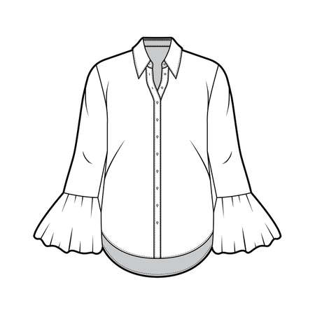 Classic shirt technical fashion illustration with sharp collar, voluminous fluted cuffs, long sleeves, oversized body. Flat apparel template front white color. Women, men unisex garment CAD mockup Иллюстрация
