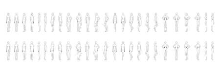 Fashion template of 50 women in different poses with main lines. 9 head size for technical drawing. Lady figure front, side, 3-4 and back view. Vector girls for fashion sketching and illustration.
