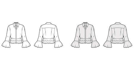 Shirt technical fashion illustration with peplum hem, collar with stand, long sleeves, voluminous fluted cuffs. Flat apparel blouse template front, back, white and grey color. Women men and unisex CAD Иллюстрация