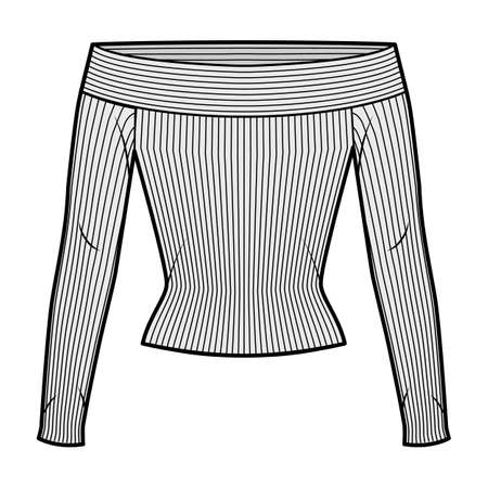 Off-the-shoulder ribbed-knit top technical fashion illustration with long sleeves, close-fitting shape. Flat apparel template front, white color. Women, men, unisex CAD mockup