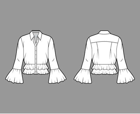 Shirt technical fashion illustration with peplum hem, collar with stand, long sleeves, voluminous fluted cuffs. Flat apparel blouse template front, back, white color. Women men and unisex CAD mockup