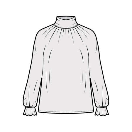 Turtleneck blouse technical fashion illustration with long sleeves, flouncy ruffled cuffs, oversized body. Flat apparel template front, grey color. Women men unisex garment CAD mockup