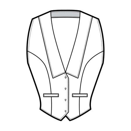 Halterneck vest technical fashion illustration with deep V neck, fitted body, front button fastenings. Flat apparel template front, white color. Women men and unisex top CAD mockup