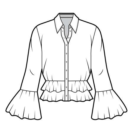 Shirt technical fashion illustration with peplum hem, collar with stand, long sleeves, voluminous fluted cuffs. Flat apparel blouse template front white color. Women men and unisex CAD mockup