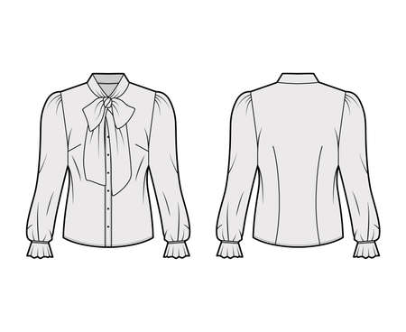 Pussy-bow blouse technical fashion illustration with long blouson sleeves, flouncy ruffled cuffs, fitted body. Flat apparel shirt template front, back, grey color. Women men unisex garment CAD mockup