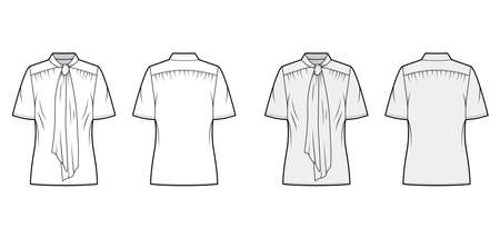 Pussy-bow blouse technical fashion illustration with oversized body, loose fit, short sleeves. Flat apparel template front, back, grey and white color. Women, men and unisex mockup CAD for designer Ilustração
