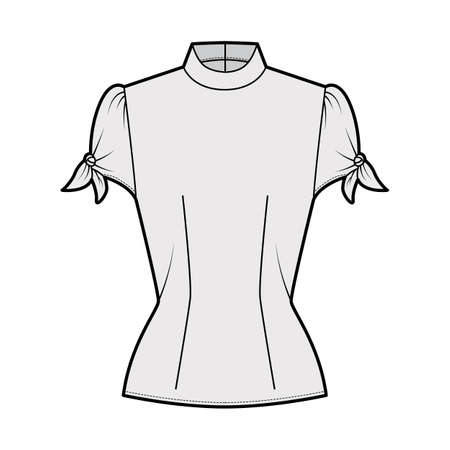 Knotted cutout blouse technical fashion illustration with high neckline, puffed volume sleeves, back zip fastening. Flat apparel template front, grey color. Women men unisex garment CAD mockup