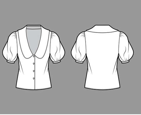 Blouse technical fashion illustration with collar framing V neck, oversized medium puffed sleeves and body. Flat apparel template front, back, white color. Women, men unisex garment CAD mockup
