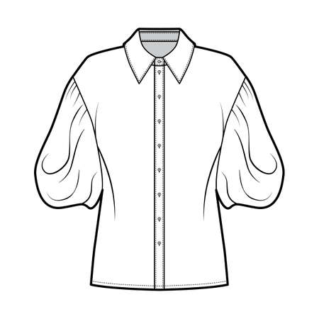 Shirt technical fashion illustration with elbow puff sleeves, oversized body, front button fastenings. Flat apparel blouse template front, white color. Women men unisex top garment CAD mockup