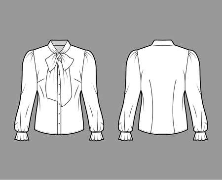 Pussy-bow blouse technical fashion illustration with long blouson sleeves, flouncy ruffled cuffs, fitted body. Flat apparel shirt template front, back, white color. Women men unisex garment CAD mockup 일러스트