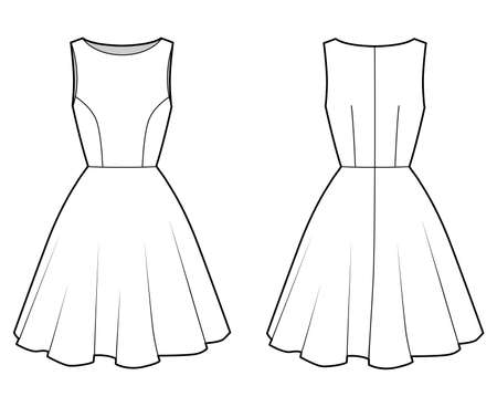 Dress technical fashion illustration with fitted body, boat neck, sleeveless, semi-circular fullness, knee length. Flat apparel template front, back, white color. Women, men unisex CAD mockup
