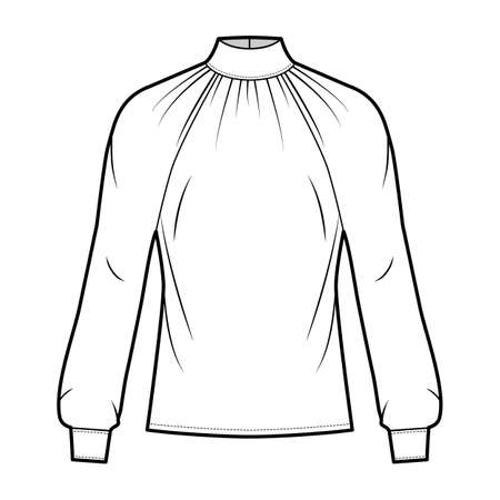 High-cut neck blouse technical fashion illustration with long sleeves with cuff, loose fit, button-fastening keyhole at back. Flat shirt apparel template front white color. Women men unisex CAD mockup