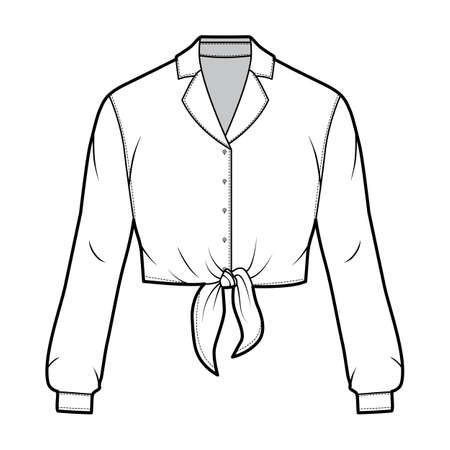 Cropped tie-front shirt technical fashion illustration with notched lapel collar and long sleeves. Flat apparel blouse template front, white color. Women, men and unisex top CAD mockup