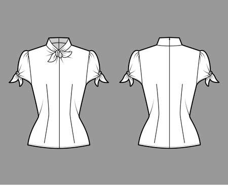 Knotted cutout blouse technical fashion illustration with high neckline, puffed volume sleeves, back zip fastening. Flat apparel template front, back white color. Women men unisex garment CAD mockup