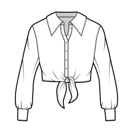 Cropped tie-front shirt technical fashion illustration with oversized collar and long sleeves. Flat apparel blouse template front, white color. Women, men and unisex top CAD mockup 矢量图像