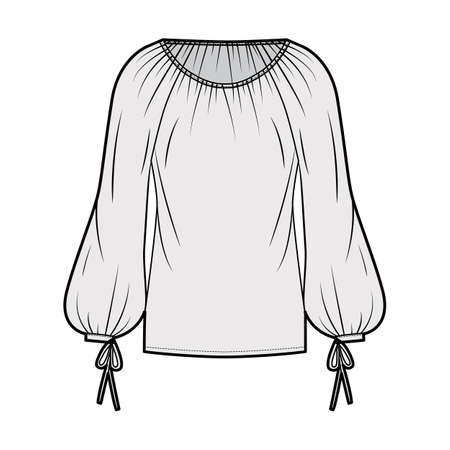 Blouse technical fashion illustration with wide round neckline, breezy silhouette, pintucked pleats, bishop sleeves. Flat apparel shirt template front, grey color. Women men unisex top CAD mockup