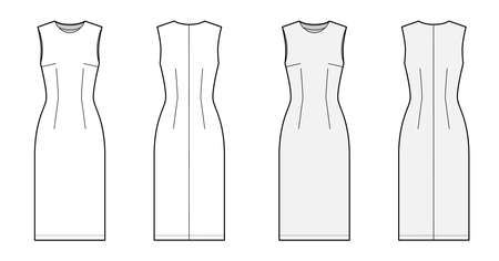 Sheath dress technical fashion illustration with fitted body, oval neck, sleeveless, pencil fullness, knee length. Flat apparel template front, back, white and grey color. Women, men unisex CAD mockup