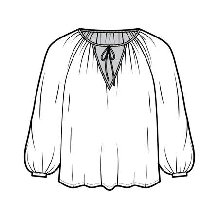 Tie softly gathered neckline blouse technical fashion illustration with loose shape, long sleeves, drapes fluidly. Flat shirt apparel template front, white color. Women, men unisex top CAD mockup Vector Illustration