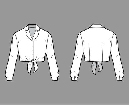 Cropped tie-front shirt technical fashion illustration with notched lapel collar and long sleeves. Flat apparel blouse template front back, white color. Women, men and unisex top CAD mockup