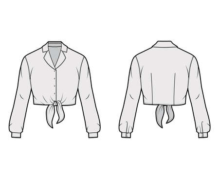 Cropped tie-front shirt technical fashion illustration with notched lapel collar and long sleeves. Flat apparel blouse template front back, grey color. Women, men and unisex top CAD mockup