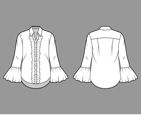Ruffled shirt technical fashion illustration with sharp collar, voluminous fluted cuffs, long sleeves, oversized body. Flat apparel template front back white color. Women men unisex garment CAD mockup Иллюстрация