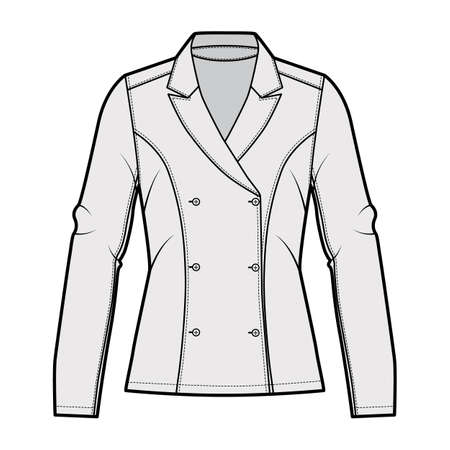 Blazer technical fashion illustration with notched lapel, fitted silhouette, double breasted opening, long sleeves. Flat apparel jacket template front, grey color. Women men unisex top CAD mockup