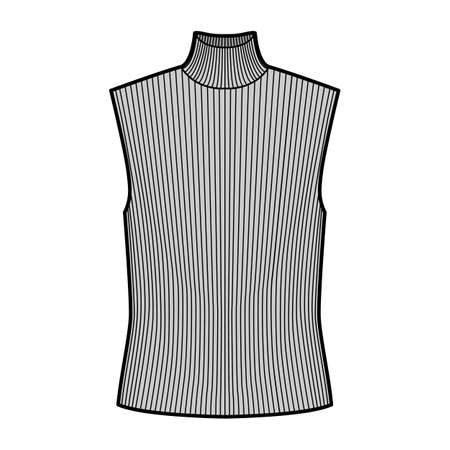Turtleneck rib sweater technical fashion illustration with oversized body, sleeveless jumper. Flat shirt apparel template front, grey color. Women, men unisex top CAD mockup