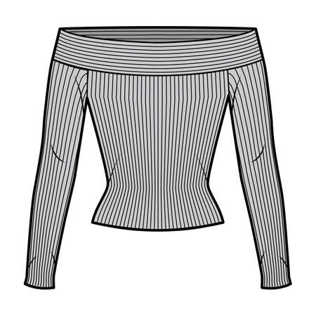 Off-the-shoulder ribbed-knit top technical fashion illustration with long sleeves, close-fitting shape. Flat apparel template front, grey color. Women, men, unisex CAD mockup