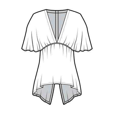 Blouse technical fashion illustration with elbow circle sleeves, deep V neck, split hem and snap-fastenings at back. Flat apparel template front, white color. Women men unisex garment mockup