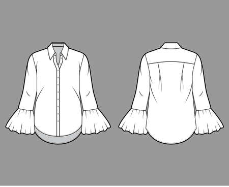 Classic shirt technical fashion illustration with sharp collar, voluminous fluted cuffs, long sleeves, oversized body. Flat apparel template front back white color. Women, men unisex CAD mockup