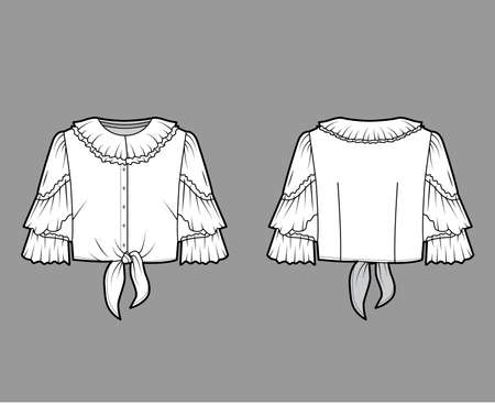 Cropped tie-front blouse technical fashion illustration with ruffled collar and sleeves, front button fastening. Flat apparel shirt template front back, white color. Women, men and unisex CAD mockup
