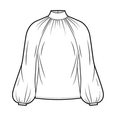 High-cut neck blouse technical fashion illustration with long bishop sleeves, loose fit, button-fastening keyhole at back. Flat apparel top template front, white color. Women men, unisex shirt CAD