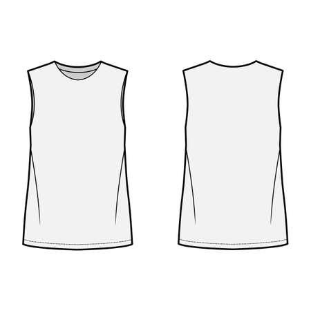 Basic blouse technical fashion illustration with oversized body, round neck, sleeveless, tunic length. Flat shirt apparel template front, back, grey color. Women, men unisex top CAD mockup Illustration