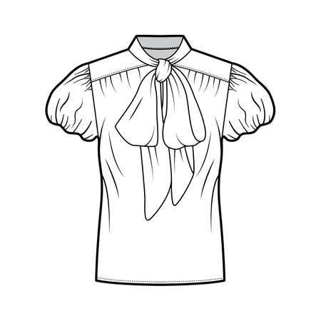 Pussy-bow blouse technical fashion illustration with oversized body, loose fit, short bubble sleeves. Flat apparel shirt template front, white color. Women, men and unisex mockup CAD for designer