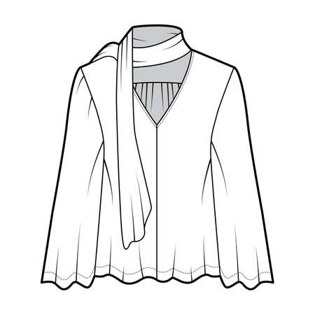 Pussy-bow blouse technical fashion illustration with baby doll body, deep V-neck, long circle sleeves tunic. Flat shirt apparel template front white color. Women, men unisex top CAD mockup