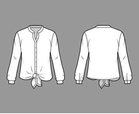 Shirt technical fashion illustration with curved mandarin stand collar, long sleeves, tie hem, oversized body. Flat apparel blouse template front back white color. Women, men and unisex top CAD mockup Vettoriali