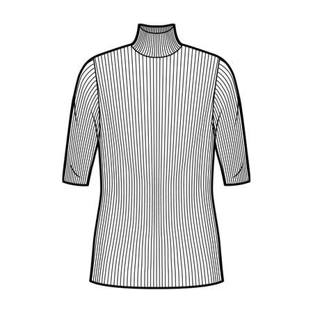 Turtleneck ribbed-knit sweater technical fashion illustration with elbow sleeves, oversized body, tunic length. Flat sweater apparel template front, white color. Women, men unisex shirt top CAD mockup