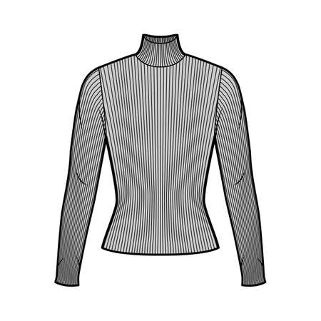Turtleneck ribbed-knit sweater technical fashion illustration with long sleeves, close-fitting shape. Flat sweater apparel template front, grey color. Women, men, unisex shirt top CAD mockup