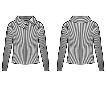 Wide button-up turtleneck ribbed-knit sweater technical fashion illustration with long sleeves, oversized. Flat sweater apparel template front back, grey color. Women men unisex shirt top CAD mockup