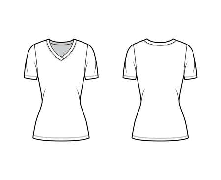 V-neck jersey t-shirt technical fashion illustration with short sleeves, tunic length. Flat sweater apparel template front, back white color. Women, men, unisex outwear top CAD mockup