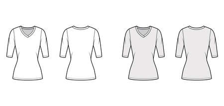 V-neck jersey sweater technical fashion illustration with elbow sleeves, close-fitting shape, tunic length. Flat outwear apparel template front back white grey color. Women men unisex top CAD mockup