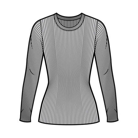 Ribbed crew neck knit sweater technical fashion illustration with long sleeves, close-fitting shape tunic length. Flat outwear apparel template front grey color. Women men unisex shirt top mockup
