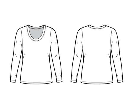 Scoop neck jersey sweater technical fashion illustration with long sleeves, oversized body, tunic length. Flat shirt apparel template front back white color. Women men unisex outfit top CAD mockup