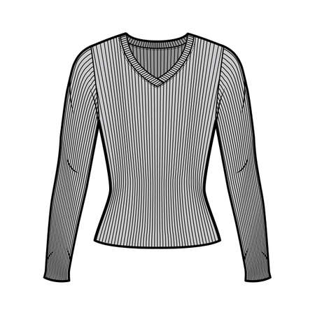 Ribbed V-neck knit sweater technical fashion illustration with long sleeves, close-fitting shape. Flat outwear apparel template front, grey color. Women men, unisex shirt top CAD mockup