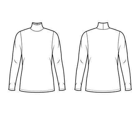 Turtleneck jersey sweater technical fashion illustration with long sleeves, oversized body, tunic length. Flat outwear apparel template front back white color. Women men unisex shirt top CAD mockup