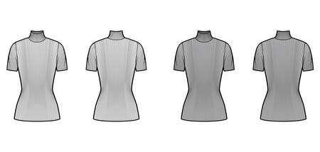 Turtleneck ribbed-knit sweater technical fashion illustration with short rib sleeves, tunic length. Flat sweater apparel template front, back white grey color. Women, men, unisex shirt top CAD