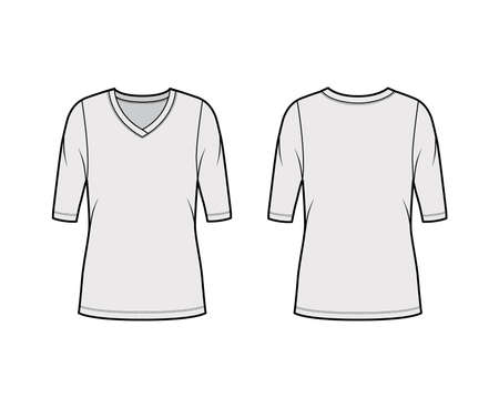 V-neck jersey sweater technical fashion illustration with elbow sleeves, oversized body, tunic length. Flat outwear apparel template front, back grey color. Women, men unisex shirt top CAD mockup Illustration