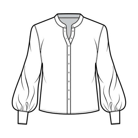 Stand collar shirt technical fashion illustration with long bishop sleeve with cuff, front button-fastening, loose silhouette. Flat blouse apparel template front white color. Women, men unisex top CAD